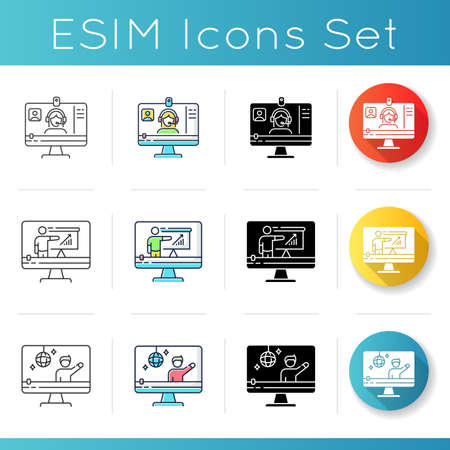 Videography icons set. Web conference. Internet blogging. Online tutorial. Distance education. Concert streaming. Linear, black and RGB color styles. Isolated vector illustrations