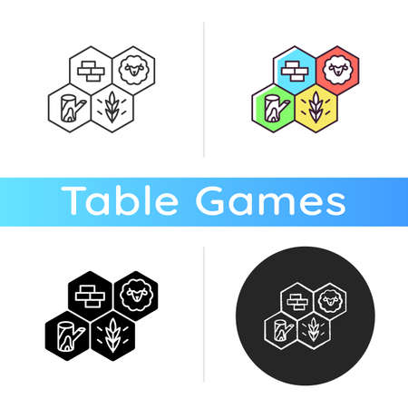 Strategy game icon. Tactical play, traditional game night party activity. Linear black and RGB color styles. Competitive intellectual recreation. Resources isolated vector illustrations