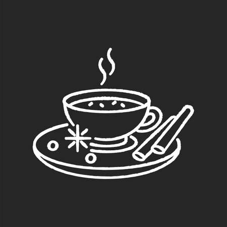 Masala chai chalk white icon on black background. Indian tea with spices and herbs. Traditional drink. Flavoured hot beverage. Cocoa with cinnamon. Morning coffee. Isolated vector chalkboard