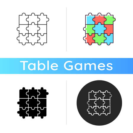Jigsaw puzzle icon. Traditional intellectual pastime, educational leisure game. Linear black and RGB color styles. Recreational activity. Combined puzzle pieces isolated vector illustrations Çizim