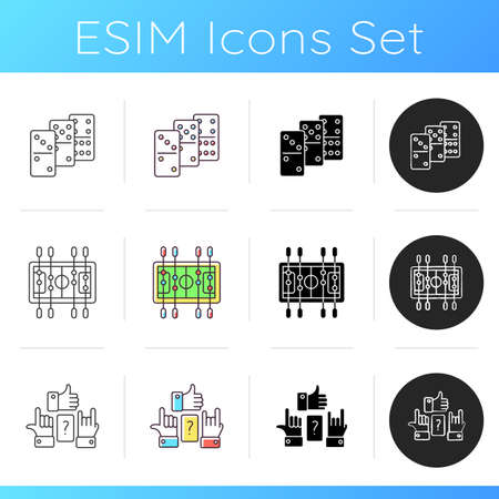 Table games icons set. Popular recreational activities. Table soccer, dominoes and charades. Linear, black and RGB color styles. Different games played on table. Isolated vector illustrations Ilustração