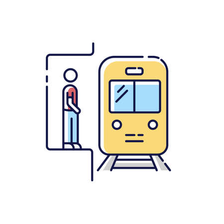 Subway RGB color icon. Railway station. Platform for passenger to wait for metro train. Fast public commuter. Urban infrastructure. City transit means. Isolated vector illustration