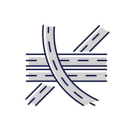 Multi level junction chalk white icon on black background. Highway system. Multiple tarmac roads. Drive on crossroad. Route for transport. Roadway direction. Isolated vector illustration