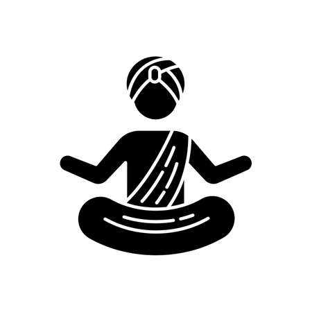 Yogi in turban black glyph icon. Practitioner of yoga. Physical and mental practices. Meditating Indian monk. Man in lotus position. Silhouette symbol on white space. Vector isolated illustration
