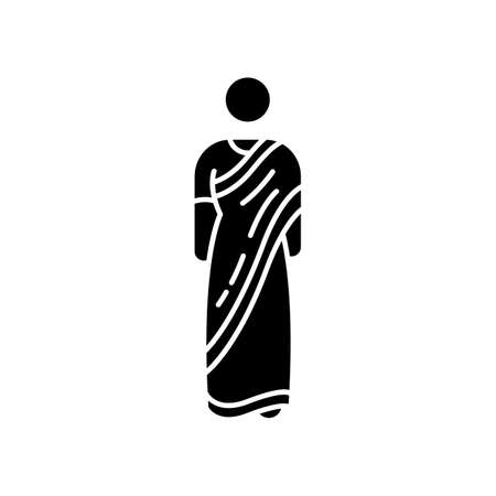 Sari black glyph icon. Traditional Hindu clothing. Indian clothes. Womens garment. Ethnic attire. Cultural heritage. Asian person. Silhouette symbol on white space. Vector isolated illustration