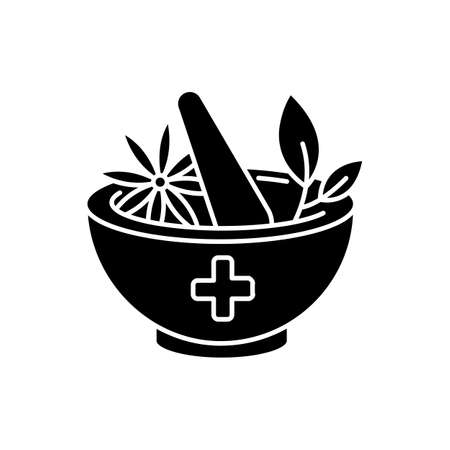Ayurveda black glyph icon. Ayurvedic treatment. Alternative medicine. Indian traditional health care system. Medicinal herbs. Silhouette symbol on white space. Vector isolated illustration