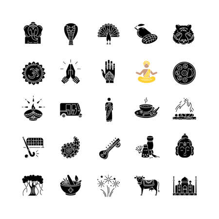 Indian culture black glyph icons set on white space. National animals. Traditional ceremonies. Religious symbols. Asian cuisine. Ethnic heritage. Silhouette symbols. Vector isolated illustration Çizim