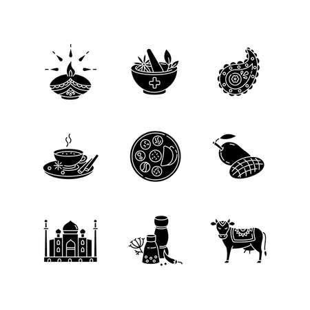 Indian traditions black glyph icons set on white space. National cuisine. Ayurveda medicine. Taj Mahal. Sacred cow. Diya. Diwali festival. Thali dish. Silhouette symbols. Vector isolated illustration