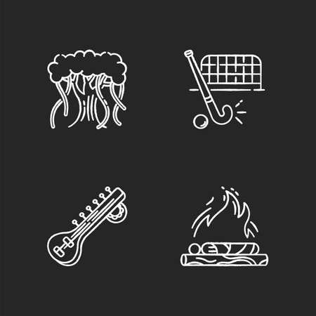 Indian culture chalk white icons set on black background. Religious ritual. Funeral rite. Cremation. Banyan tree. Sitar musical instrument. Field hockey. National sport. Isolated vector chalkboard