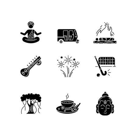 Indian customs black glyph icons set on white space. Religious symbols and ceremonies. Buddha. Sitar instrument. Hindu funeral. Tuk tuk. Banyan tree. Silhouette symbols. Vector isolated illustration