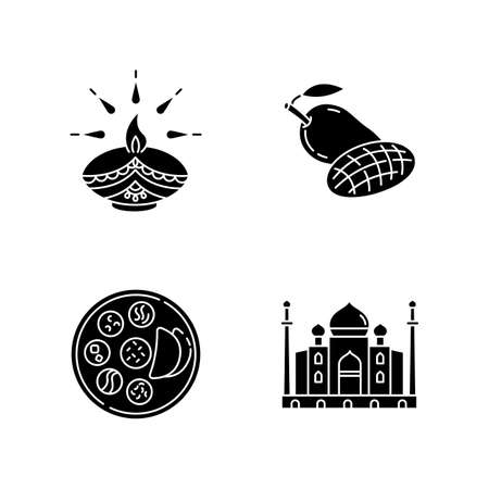 Indian culture black glyph icons set on white space. Traditional diya. Diwali festival. Mango fruit. Tropical food. Thali. Chapati bread. Taj Mahal. Silhouette symbols. Vector isolated illustration