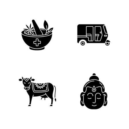 Indian culture black glyph icons set on white space. Ayurveda. Alternative medicine. Auto rickshaw. Tuk-tuk. Holy cow. Sacred animal. Gautama Buddha. Silhouette symbols. Vector isolated illustration