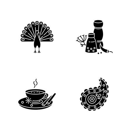 Indian culture black glyph icons set on white space. National animal. Peacock. Traditional cuisine. Masala chai. Paisley pattern. Spices and herbs. Silhouette symbols. Vector isolated illustration