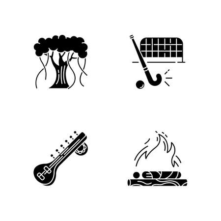 Indian culture black glyph icons set on white space. Religious ritual. Hindu funeral. Cremation. Banyan tree. Sitar musical instrument. Field hockey. Silhouette symbols. Vector isolated illustration