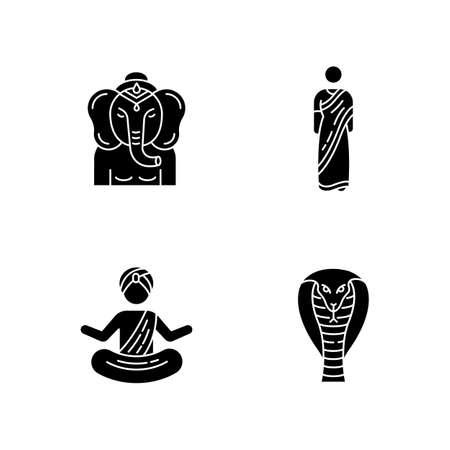 Indian culture black glyph icons set on white space. Ganesha. Religious symbol. Sari dress. Traditional Hindu clothing. Yogi in turban. King cobra. Silhouette symbols. Vector isolated illustration