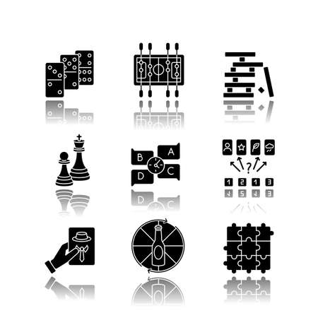 Party games drop shadow black glyph icons set. Recreation activities, fun pastime. Various competitive and educational games for friends and family. Isolated vector illustrations on white space