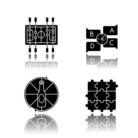 Friendly party games drop shadow black glyph icons set. Entertainment night activities. Table soccer, spinning bottle, jigsaw bottle and quiz. Isolated vector illustrations on white space
