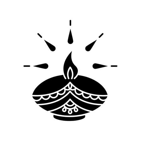 Diwali festival black glyph icon. Hindu festival of Lights. Traditional diya. Indian holiday. Clay oil lamp. Hindu celebration. Silhouette symbol on white space. Vector isolated illustration Çizim