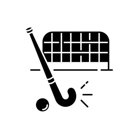 Field hockey black glyph icon. Indian national game. Active pastime. Team sport. Sports equipment and goals. Hockey stick and ball. Silhouette symbol on white space. Vector isolated illustration Stok Fotoğraf - 148175396