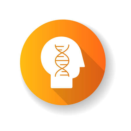 Human yellow biology flat design long shadow glyph icon. Modern science, natural field of study. Genetics, biotechnology, gene engineering. Head with DNA helix silhouette RGB color illustration