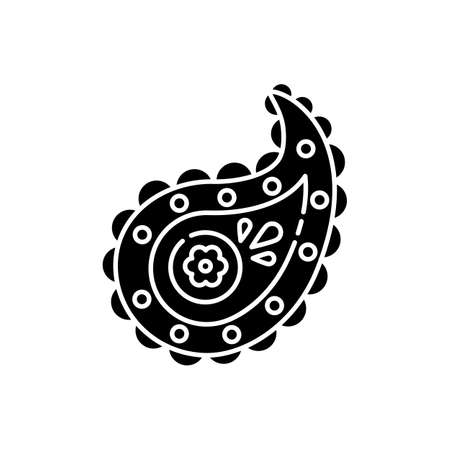 Paisley pattern black glyph icon. Pine cone shape. Zoroastrianism religion. Symbol of life. Asian culture. Indian ethnic tradition. Silhouette symbol on white space. Vector isolated illustration