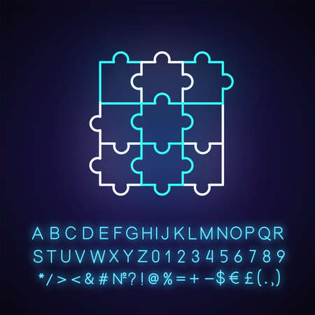 Jigsaw puzzle neon light icon. Outer glowing effect. Traditional intellectual pastime, sign with alphabet, numbers and symbols. Combined puzzle pieces vector isolated RGB color illustration Çizim