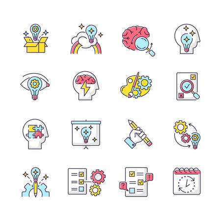 Creativity RGB color icons set. Idea generation. Imagination of creative artist mind. Logical approach to problem solving. Mental health. Development and management. Isolated vector illustrations Ilustración de vector