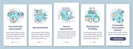 Sharing economy benefits onboarding mobile app page screen with concepts. Modern business model advantages walkthrough five steps graphic instructions. UI vector template with RGB color illustrations Ilustración de vector