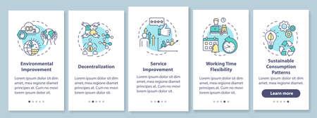 L'économie de partage profite à l'intégration de l'écran de la page de l'application mobile avec des concepts. Les avantages du modèle commercial moderne présentent des instructions graphiques en cinq étapes. Modèle vectoriel d'interface utilisateur avec illustrations en couleur RVB Vecteurs