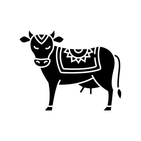 Holy cow black glyph icon. Sacred animal. Religious symbol of India. Indian culture. Symbol of earth. Agriculture, dairy industry. Silhouette symbol on white space. Vector isolated illustration
