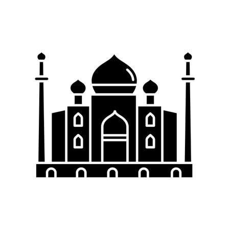 Taj Mahal black glyph icon. Marble mausoleum. Historical monument. Mughal architecture. Tourist attraction. Wonder of world. Silhouette symbol on white space. Vector isolated illustration