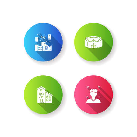 City buildings flat design long shadow glyph icons set. Network coverage. Urban wifi zone. Green building. Stadium for sport event. Face recognition. Silhouette RGB color illustration