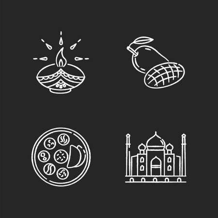 Indian culture chalk white icons set on black background. Traditional diya. Diwali festival. Mango fruit. Thali dish. Chapati bread. Taj Mahal. Marble mausoleum. Isolated vector chalkboard Illustration