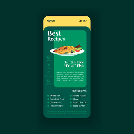 Fish dish best recipe smartphone interface vector template. Mobile app page green design layout. Gluten free fried seafood screen. Flat UI for application. Meal preparation. Phone display