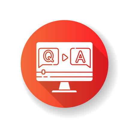Question and answer video red flat design long shadow glyph icon. Journalist interview footage. Blogger Q and A stream. Online quiz. Informational content. Silhouette RGB color illustration
