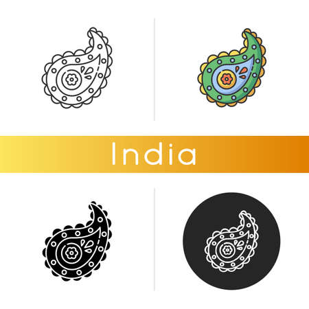 Paisley pattern icon. Pine cone shape. Zoroastrianism religion. Cypress Tree. Symbol of life and eternity. Asian culture. Linear black and RGB color styles. Isolated vector illustrations