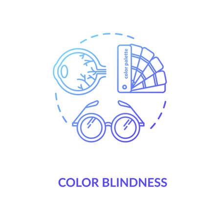 Color blindness concept icon. Common mens problem, genetic eye condition idea thin line illustration. Color vision deficiency diagnosis. Vector isolated outline RGB color drawing