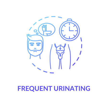 Frequent urination concept icon. Prostatitis symptom idea thin line illustration. Prostate gland inflammation, urinary tract infection. Vector isolated outline RGB color drawing