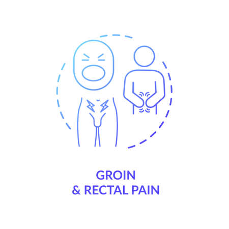Groin and rectal pain concept icon. Common prostatitis symptoms, mens healthcare problems idea thin line illustration. Male diseases signs. Vector isolated outline RGB color drawing