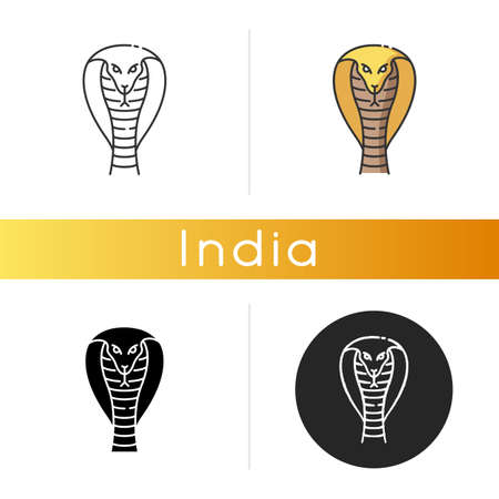 King cobra icon. Hamadryad. Venomous snake with hood. Dangerous reptile. Endemic species of India. Aggressive animal. Asian wildlife. Linear black and RGB color styles. Isolated vector illustrations