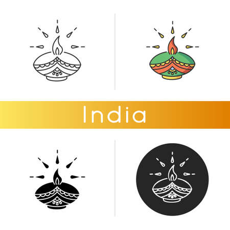 Diwali festival icon. Hindu festival of Lights. Traditional diya. Indian holiday. Clay oil lamp. Event in honor of Rama-chandra. Linear black and RGB color styles. Isolated vector illustrations