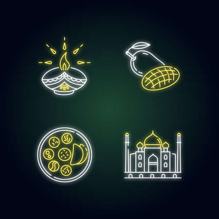 Indian culture neon light icons set. Traditional diya. Diwali festival. Mango fruit. Thali dish. Chapati bread. Taj Mahal. Signs with outer glowing effect. Vector isolated RGB color illustrations Illustration