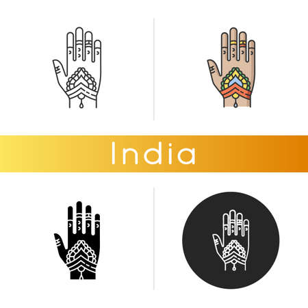 Mehndi icon. Indian tradition. Body art. Decorative designs on hand. Henna drawings. Tattoo artwork. Asian culture. Bridal ceremony. Linear black and RGB color styles. Isolated vector illustrations Çizim