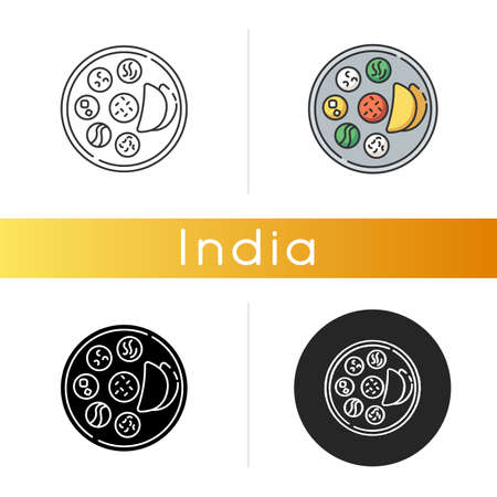 Indian thali icon. Traditional cuisine. Asian culture. Food habits of India. Chapati bread with sauces. Flatbreads. Meal serving. Linear black and RGB color styles. Isolated vector illustrations