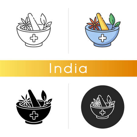 Ayurveda icon. Ayurvedic treatment. Alternative medicine. Indian traditional health care system. Medicinal herbs. Linear black and RGB color styles. Isolated vector illustrations