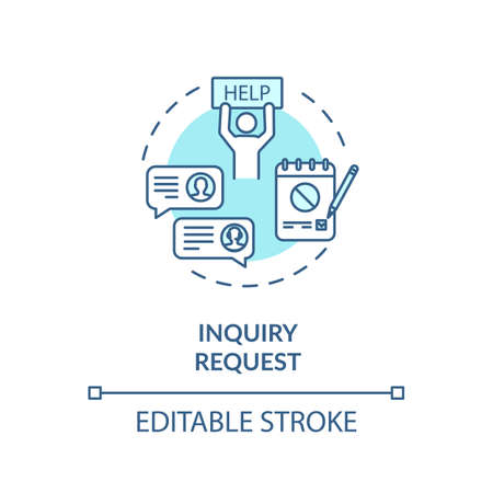 Inquiry request turquoise concept icon. Customer online support. Complaint letter thin line illustration. Social security. Clients survey. Vector isolated outline RGB color drawing. Editable stroke