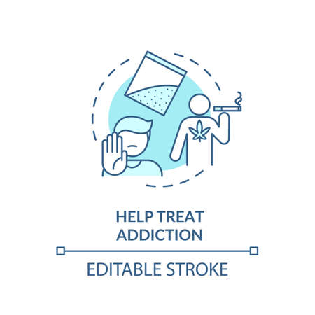 Help treat addiction turquoise concept icon. Quitting smoking program. Drugs dependence rehabilitation center thin line illustration. Vector isolated outline RGB color drawing. Editable stroke