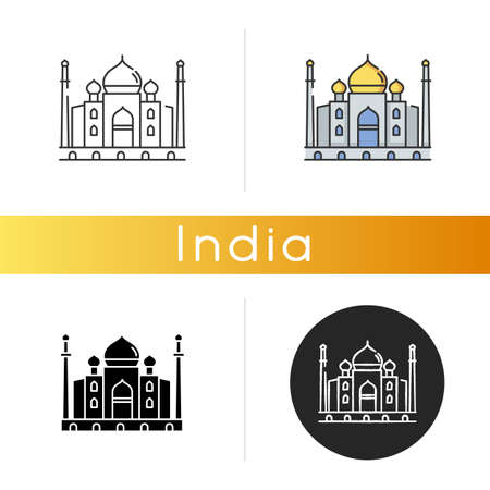 Taj Mahal icon. Marble mausoleum. Indian culture. Historical monument. Mughal architecture. Cultural heritage. Tourist attraction. Linear black and RGB color styles. Isolated vector illustrations
