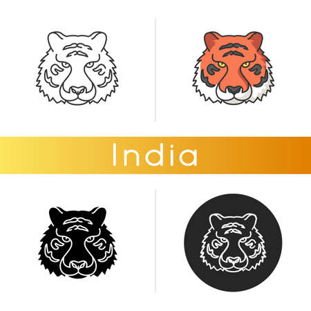 Bengal tiger icon. Panthera Tigris. National Indian animal. Symbol of power and strength. Extant big cat species. Asian wildlife. Linear black and RGB color styles. Isolated vector illustrations Ilustração