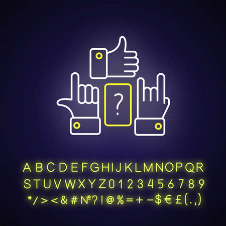 Charades neon light icon. Outer glowing effect. Traditional team play, party amusement sign with alphabet, numbers and symbols. Question and hand signs vector isolated RGB color illustration
